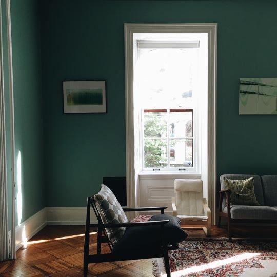 Blue walls Mid Century Vibe
